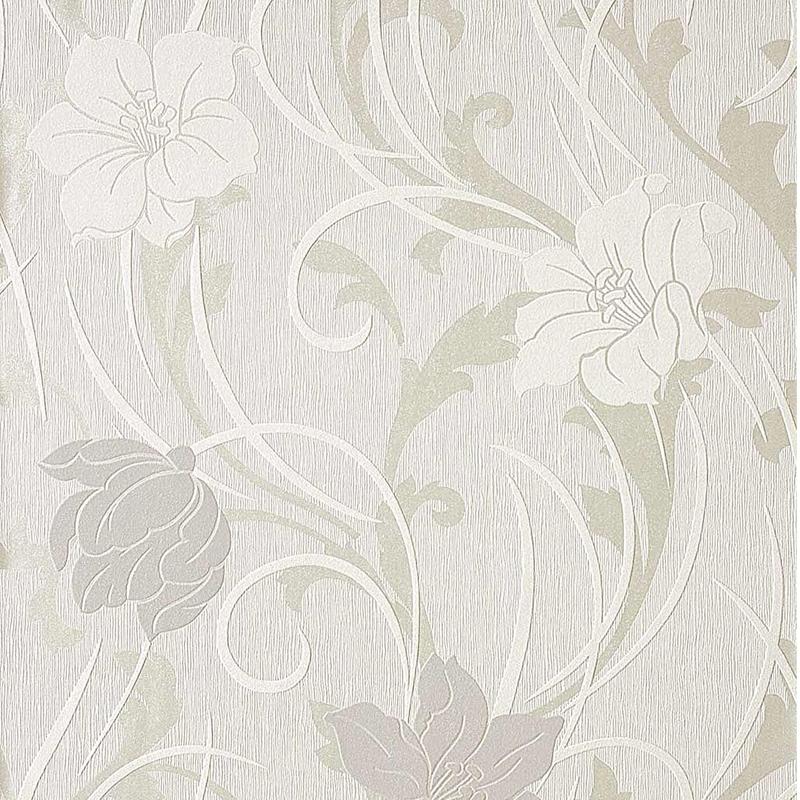 Carta da parati fiori moderni colore bianco e tortora for Carta parati fiori