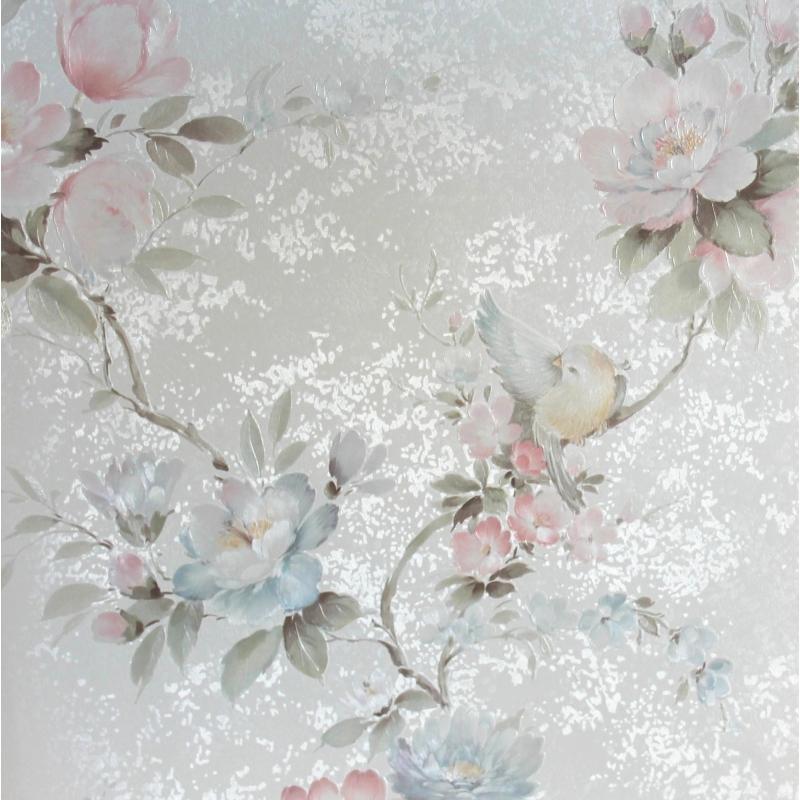 Carta da parati con fiori e uccellini