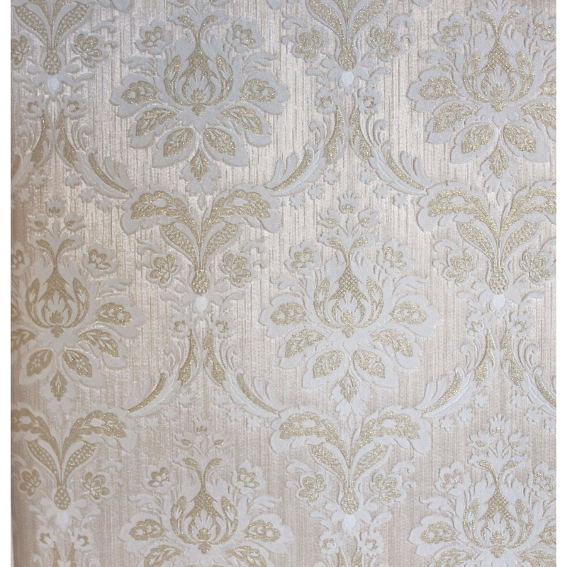 Carta da parati classica damasco barocco bianca su sfondo for Carta da parati oro