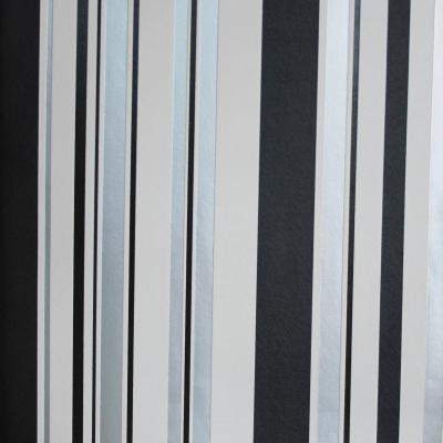 Carta da parati a righe asimmetriche nero bianco e grigio argento