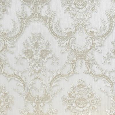 Carta da parati damasco barocco beige tinta su tinta