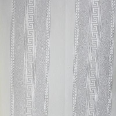 Carta da parati a righe con disegno greca tipo Versace colore grigio