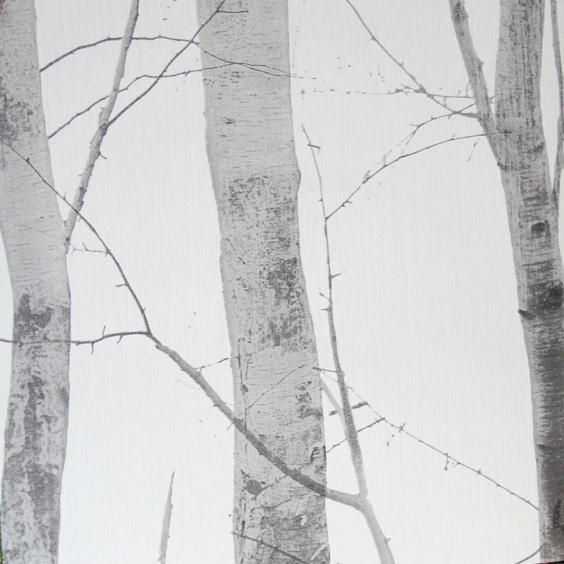 Carta da parati tronchi albero bianco e grigio
