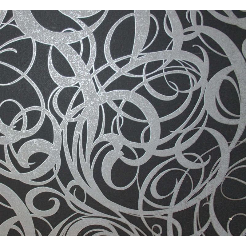 carta da parati moderna nero argento