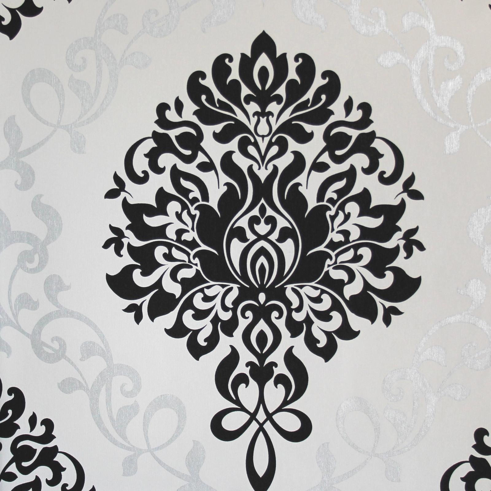 Damascata Carta Da Parati Camera Da Letto Tortora.Carta Da Parati Nuova E Moderna Con Disegno Barocco E Damasco Nero