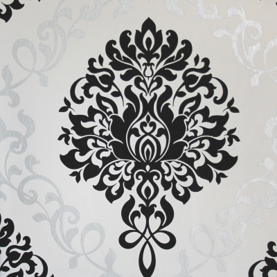 Carta da parati barocca con damasco nero su sfondo bianco tortora