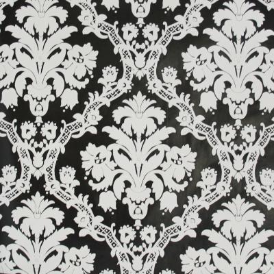 Carta da parati damasco bianco nero moderno