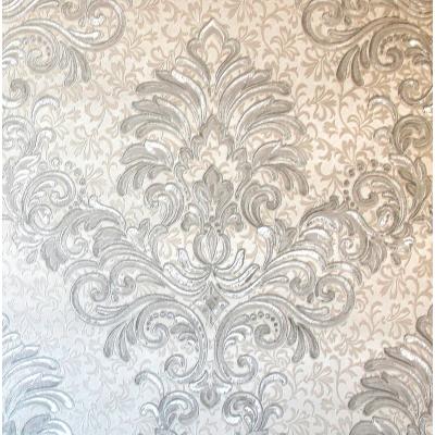 Carta da parati damasco argento su sfondo bianco