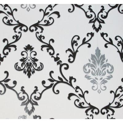 Carta da parati damasco nero e grigio argento su sfondo bianco
