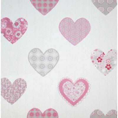 Carta da parati a cuori rosa