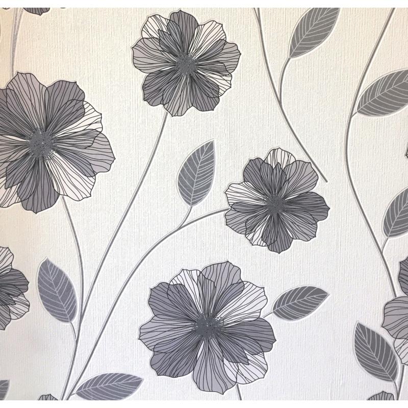 Carta da parati a fiori grigio e argento