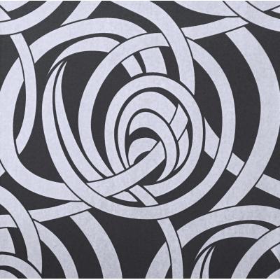 Carta da parati cerchi intrecciati grigi su base nera