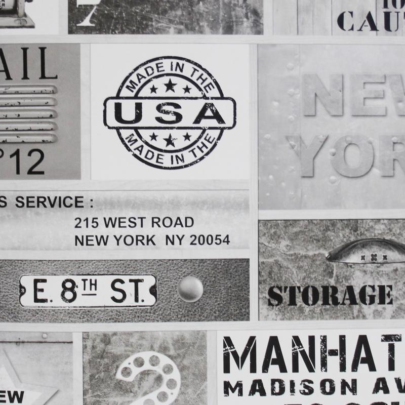 Carta da parati urban NY bianco e nero