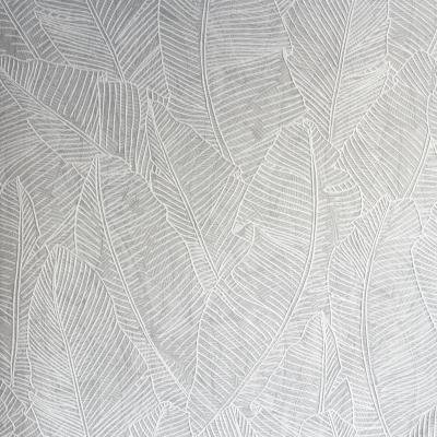 Carta da parati foglie stilizzate grigio