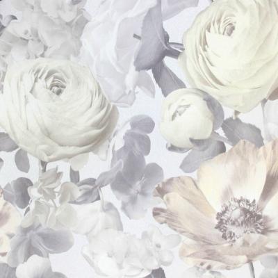 Carta da parati con fiori grandi e rose bianche e beige