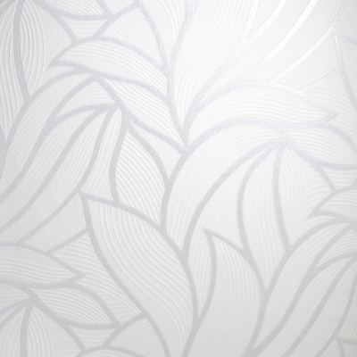 Carta da parati foglie astratte bianche