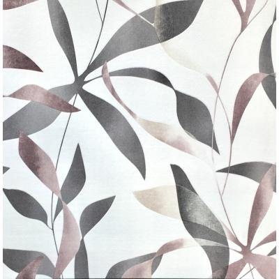 Carta da parati foglie rosa e grigio tortora