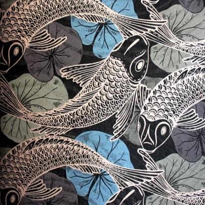 Carta da parati pesci oro sfondo nero